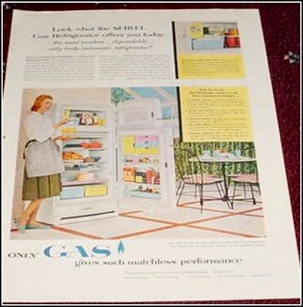 1956 Servel Gas Refrigerator ad