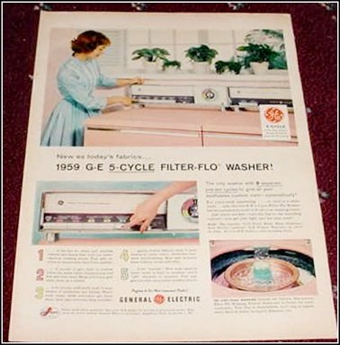 1959 GE 5 Cycle Filter Flo Washer ad
