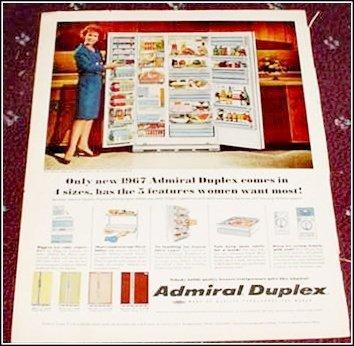 1967 Admiral Duplex Refrigerator ad