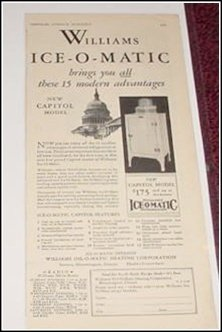 1930 Williams Ice O Matic Refrigerator ad