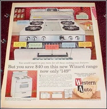 1963 Western Auto Wizard Range ad