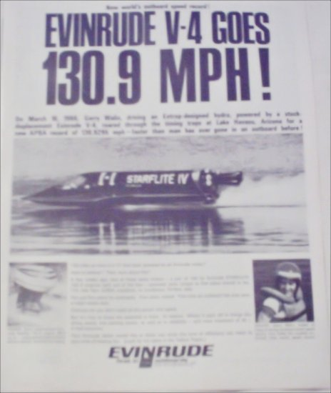 1966 Evinrude World Speed Record Boat ad