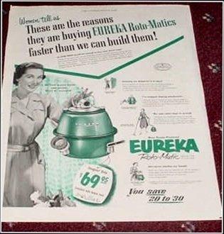 1953 Eureka Roto-Matic Vacum Cleaner ad