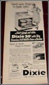 Dixie Gas Range ad