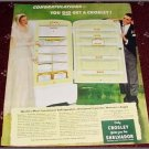 1951 Croseley Shelvador Refrigerator Bride & Groom ad