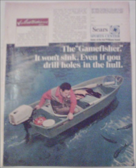 1970 Sears Gamefisher Boat ad featuring Ted Williams
