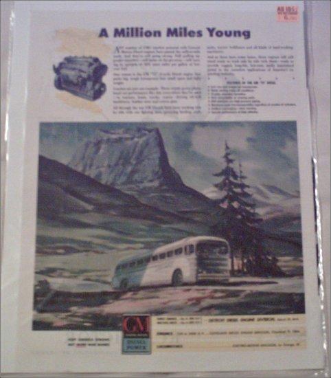 1942 GMC Diesel ad featuring Greyhound Bus Lines