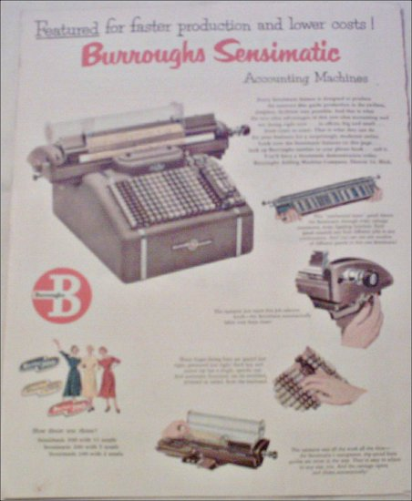 1952 Burroughs Sensimatic Accounting Machine ad #1
