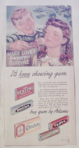 1947 Adams Gum ad featuring Dentyne