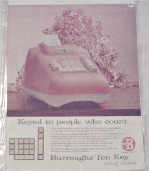 1957 Burroughs Ten Key Adding Machine ad