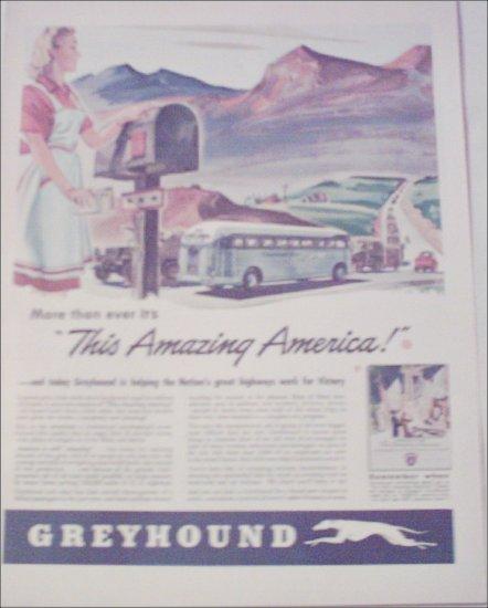 1943 Greyhound Bus Lines Amazing America ad