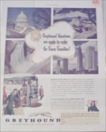 1951 Greyhound Bus Lines Vacations ad