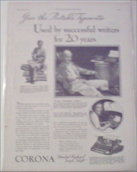 1930 Corona Typewriter ad