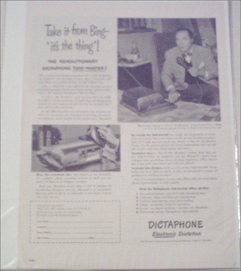 1950 Dictaphone Timemaster Dictation Machine ad featuring Bing Crosby