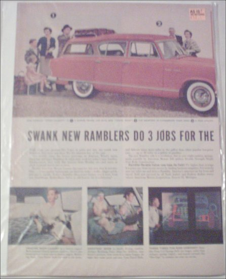 1955 American Motors Rambler 4 dr stationwagon car ad