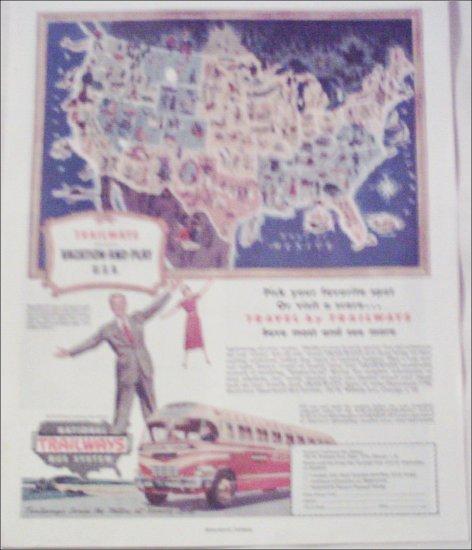 1949 Trailways Bus Line ad