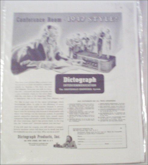 1947 Dictograph Intercom ad