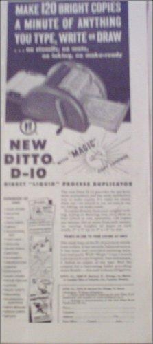 1952 Ditto D-10 Duplicator Machine ad