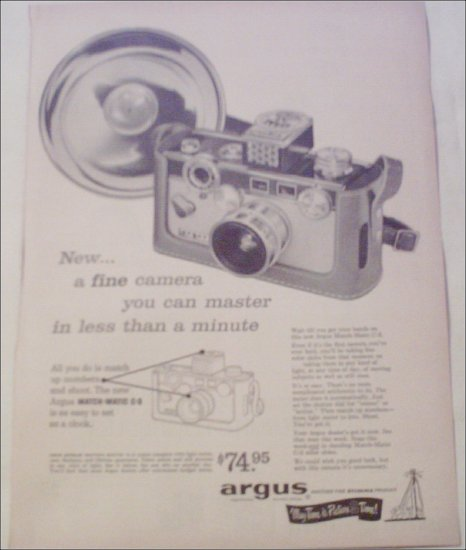 1958 Argus Match-Matic C-3 Camera ad