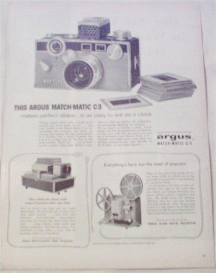 1959 Argus Match-Matic C-3 Camera ad