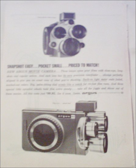 1959 Argus M3 Movie Camera Christmas ad