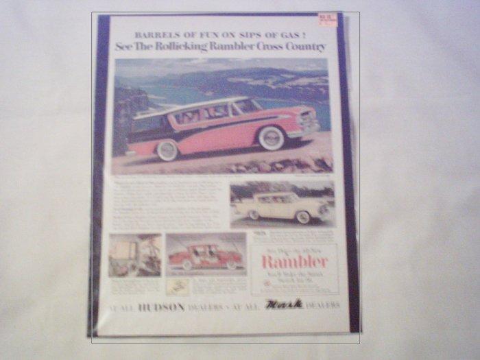 1956 American Motors Rambler Cross Country 4 dr stationwagon car ad