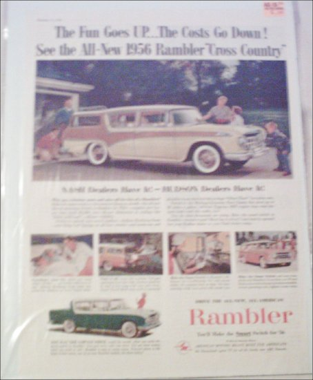 1956 American Motors Rambler Cross Country 4 dr stationwagon car ad green