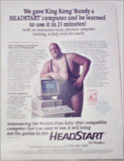 1988 Headstart Computer ad featuring King Kong Bundy