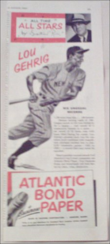 1952 Atlantic Bond Paper ad featuring Lou Gehrig