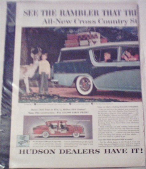 1956 American Motors Rambler Custom 4 dr stationwagon car ad