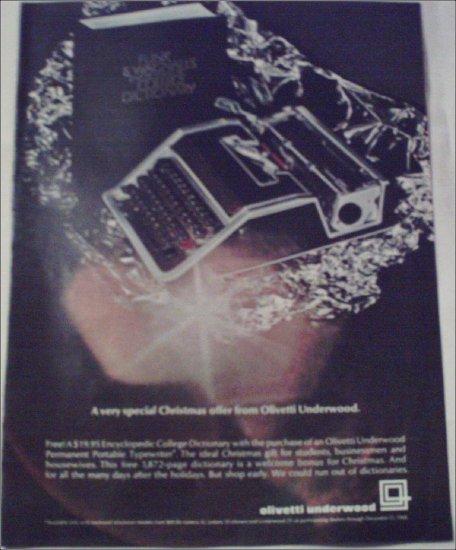 1968 Olivetti Underwood Portable Typewriter Christmas ad