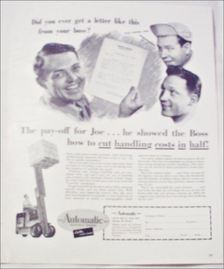 1949 Automatic Electric Truck Forklift ad