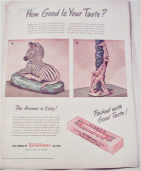 1947 Clarks Teaberry Gum ad #1