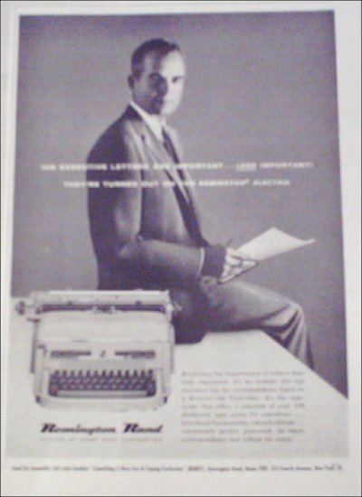 1958 Remington Rand Electric Typewriter ad