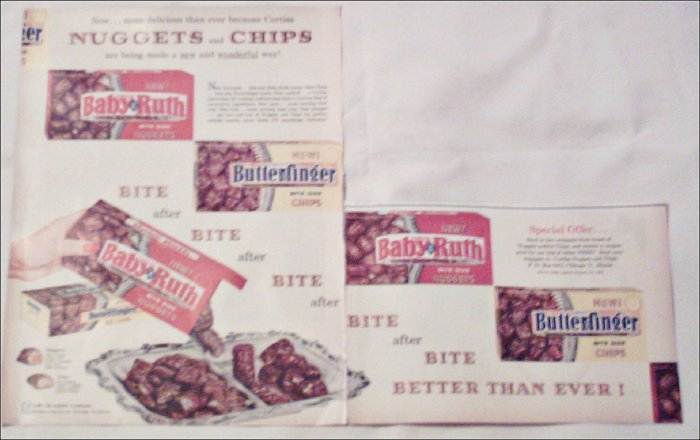 1960 Curtiss Baby Ruth Nuggets & Butterfinger Chips ad