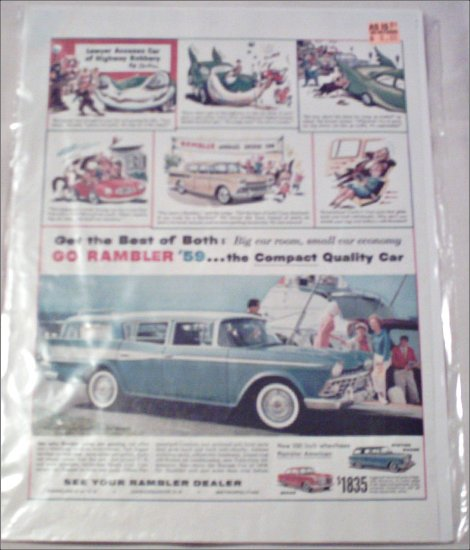 1959 American Motors Rambler CC 4 dr stationwagon  car ad blue