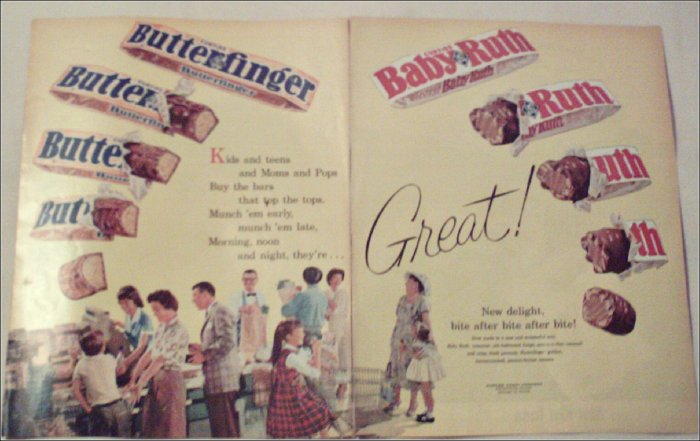 1961 Curtiss Baby Ruth & Butterfinger Candy Bar ad