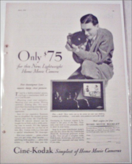 1931 Kodak Cine'Kodak Model M Movie Camera ad