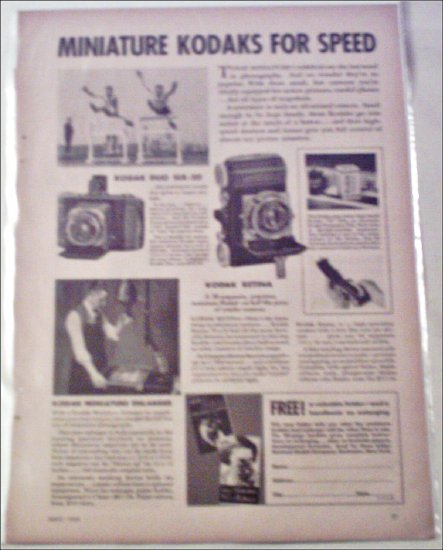 1935 Kodak Minature Camera's ad