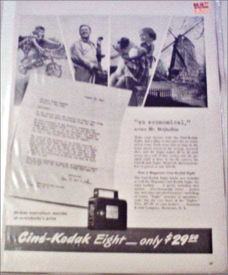1941 Kodak Cine'-Kodak Eight Movie Camera ad