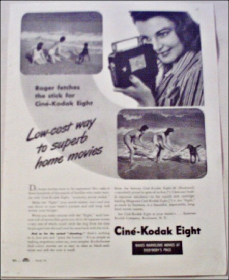 1941 Kodak Cine'-Kodak Eight Movie Camera Beach ad
