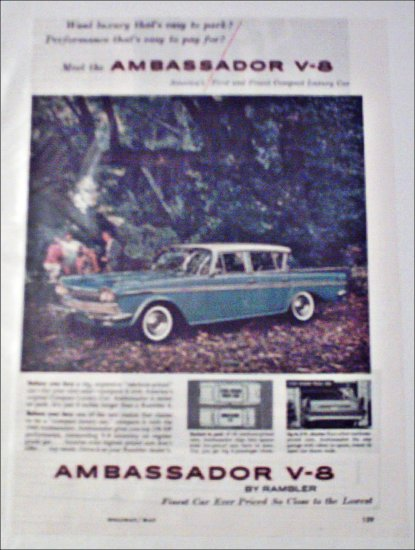 1960 American Motors Ambassador V-8 4 dr sedan car ad blue