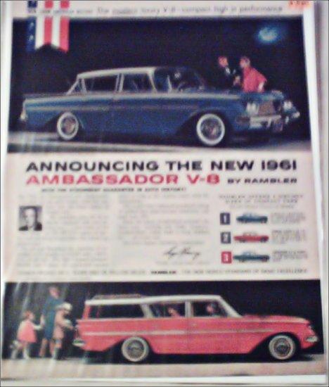 1961 American Motors Rambler Ambassador V-8 Custom 4 dr sedan car ad
