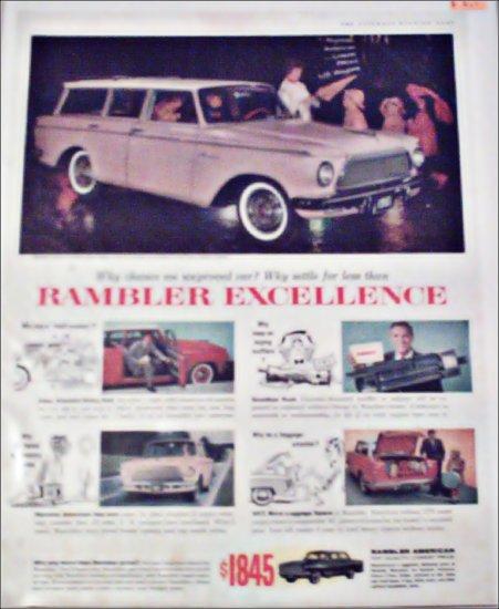 1961 American Motors Rambler American Custom 4 dr stationwagon car ad