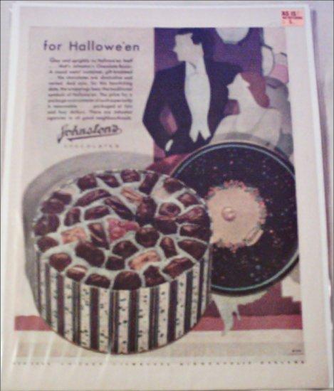 1930 Johnston's Chocolates Halloween ad