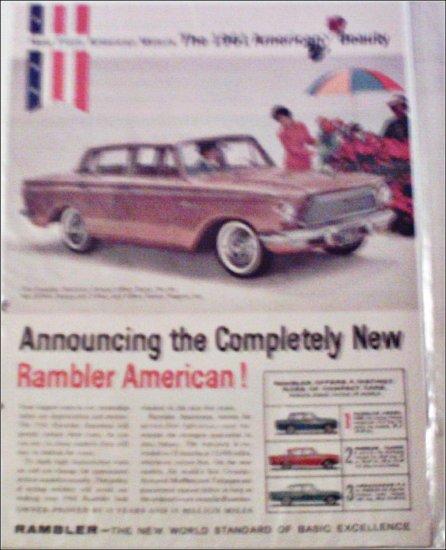1961 American Motors Rambler American Custom 4 dr sedan car ad tan
