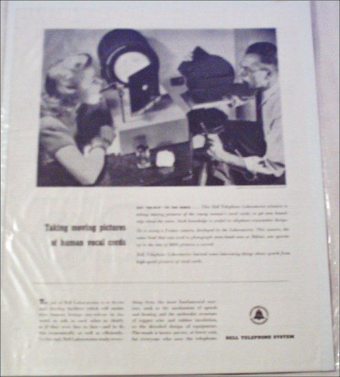 Bell Telephone Vocal chords ad