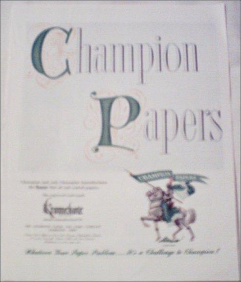 Champion Paper and Fibre Company Knight ad