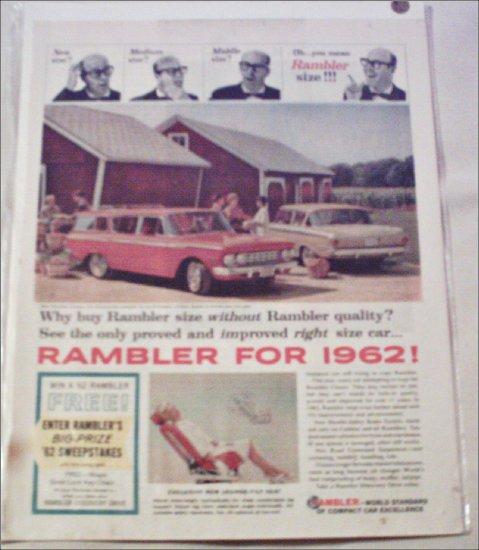 1962 American Motors Rambler Classic 2 dr sedan & 4 dr stationwagon car ad