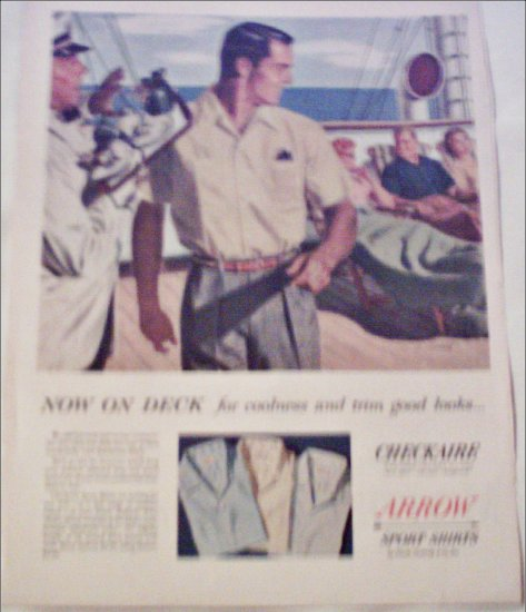 1955 Arrow Checkaire Sport Shirts ad